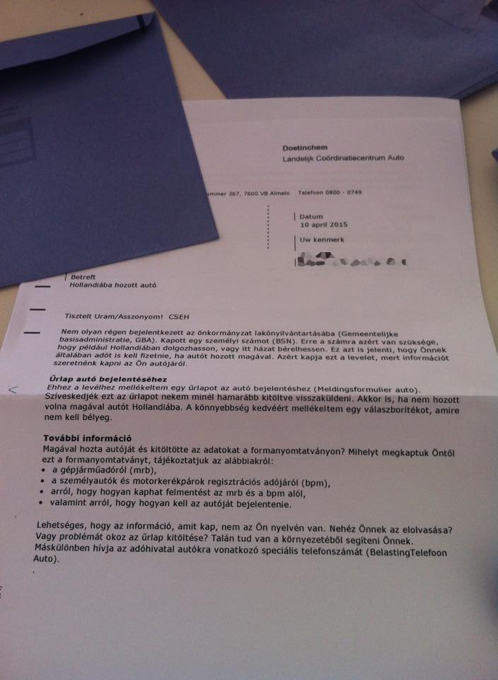 A holland adóhatóság levele