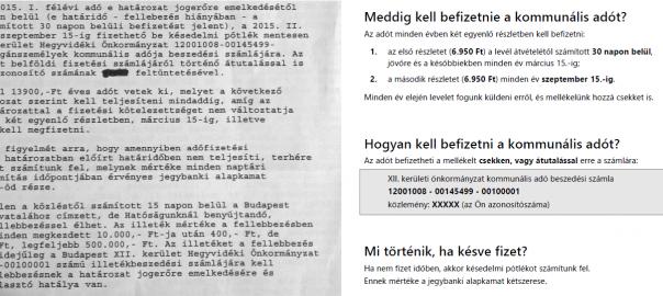 részlet az eredeti és az átírt levélből a kommunális adóról