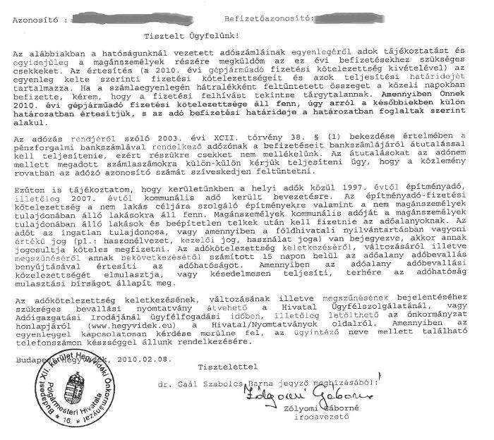 A 12. kerületi önkormányzat levele a kommunális adóról A 12. kerületi önkormányzat levele a kommunális adóról